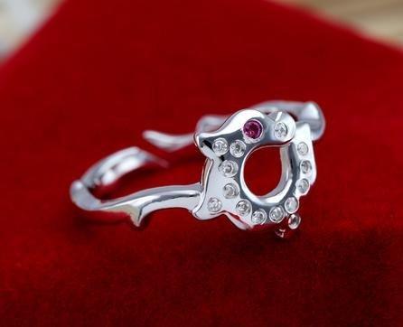 新款銀戒指女食指 龍兒指環開口 複古禮物