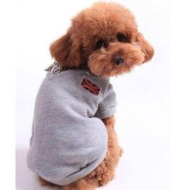 【寵物服裝-英倫風灰色polo衫-秋冬】寵物狗狗貓咪衣服 棉衣 顏色隨機,規格:XS/S/M/L/XL(請對照尺碼說明)-79011