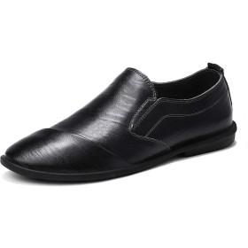 [You Are Fashion] ファッションカジュアルメンズローファー高品質金属装飾アップリケ本物の革の靴男フラットシューズ英国スタイルレトロワイプカラーシンプルなボートモカシン (Color : ブラック, サイズ : 24 CM)