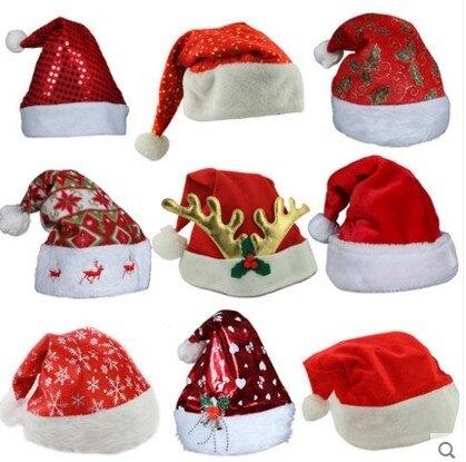 聖誕節裝飾 成人兒童紅色聖誕老人帽子 雪花5個價