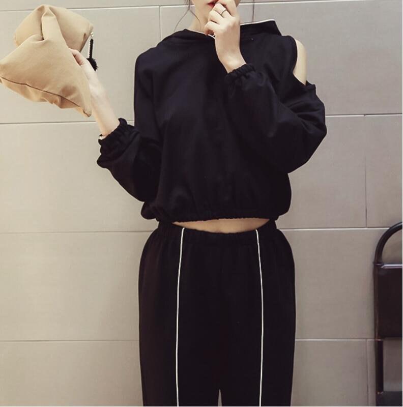 FINDSENSE MD 時尚 女 潮 休閒 寬鬆 連帽露肩 小襯衫外套 運動長褲 運動外套 套裝 上衣+褲子