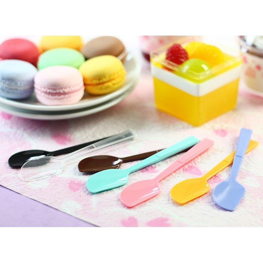 【嚴選shop】30入 馬卡龍繽紛布丁匙 10CM蛋糕匙 奶酪湯匙 塑膠湯匙 免洗餐具【W007】