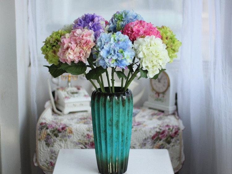 高檔歐式大繡球仿真花假花批發絹花客廳裝飾花