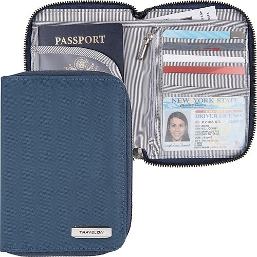 《TRAVELON》對開拉鍊護照包(海藍)