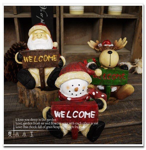 【聖誕節:真摯的祝福】馴鹿聖誕老人雪人 家居飾品高仿木雕擺件(一個價)(圖一)
