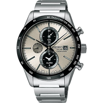 SEIKO太陽能鬧鈴兩地時間計時腕錶(SBPY117J)-銀灰/40mm