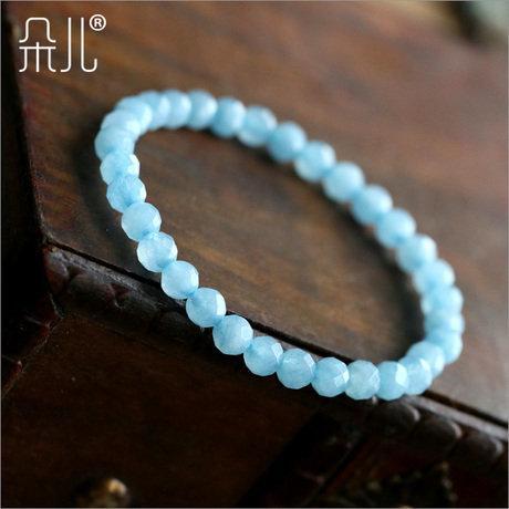 海藍寶色手鏈4mm刻面 清爽色 小巧可愛 湖水藍 精品