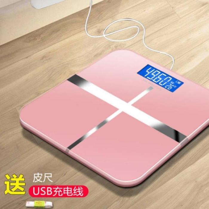 體重計 USB電子秤家用體重秤秤精準成人稱充電電子秤可愛卡通女