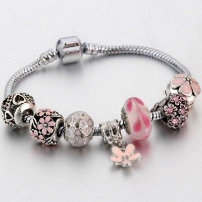 ☆串珠手鍊 手環-琉璃飾品甜美粉色花朵時尚女配件73bp25【獨家進口】【米蘭精品】