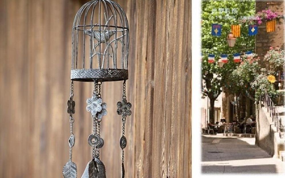 風鈴  復古做舊鐵藝小鳥鳥籠風鈴 美式鄉村鐵藝風鈴   瑪麗蘇
