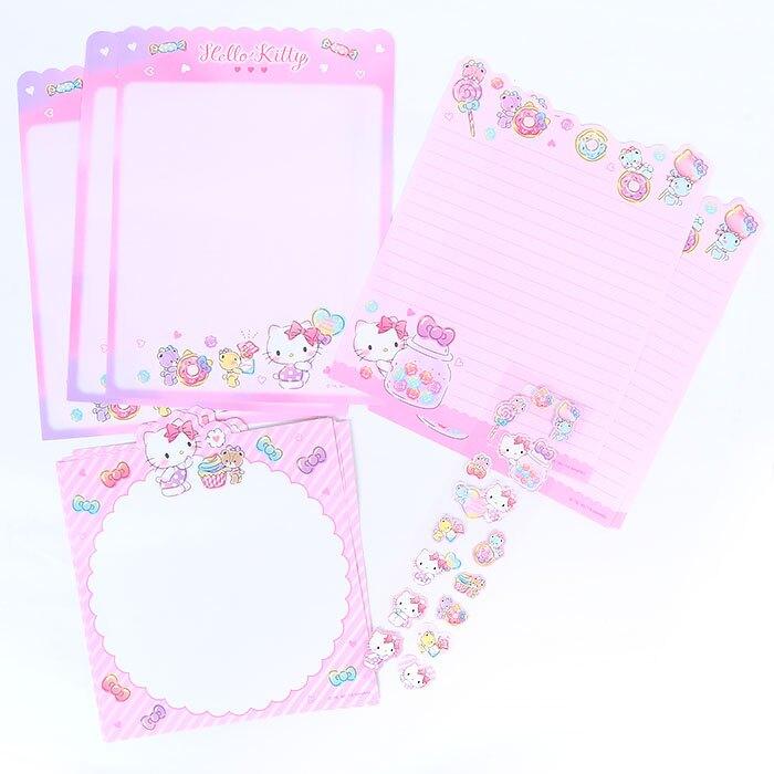 大賀屋 日本製 Hello kitty 信組 信紙 信封 貼紙 信套組 信紙組 三麗鷗 凱蒂貓 正版 L00011551