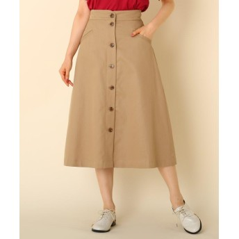 Couture Brooch(クチュールブローチ) 【WEB限定サイズ(LL)あり/手洗い可】フロントボタン ミモレスカート