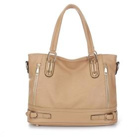 女性のハンドバッグダブルジッパーソリッドカラー多機能、大容量のハンドバッグのショルダーバッグメッセンジャーバッグ-のトップ、カーキ
