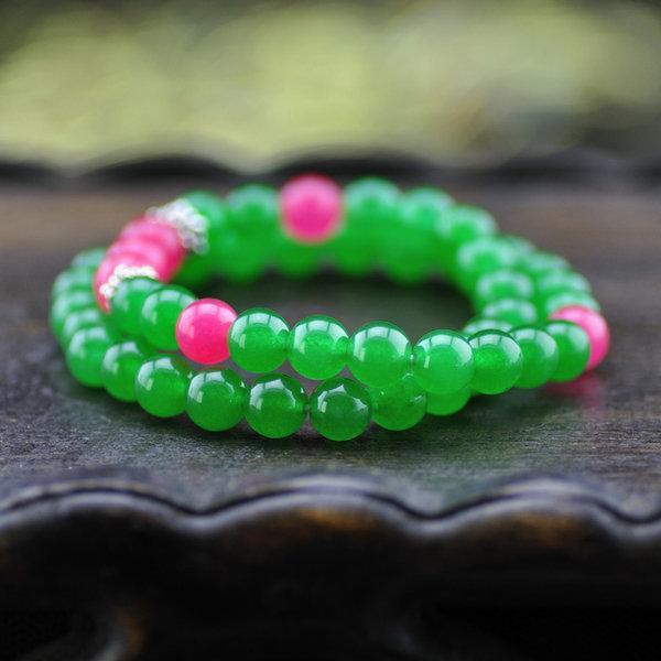 天然綠玉髓配桃紅玉髓雙層手鏈 8mm名族首飾 女款