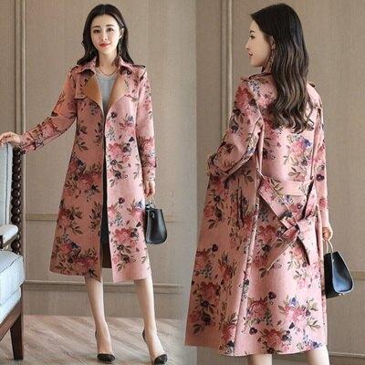 風衣外套花卉長版大衣-英倫輕熟優雅大方女外套2色73oo41【獨家進口】【米蘭精品】