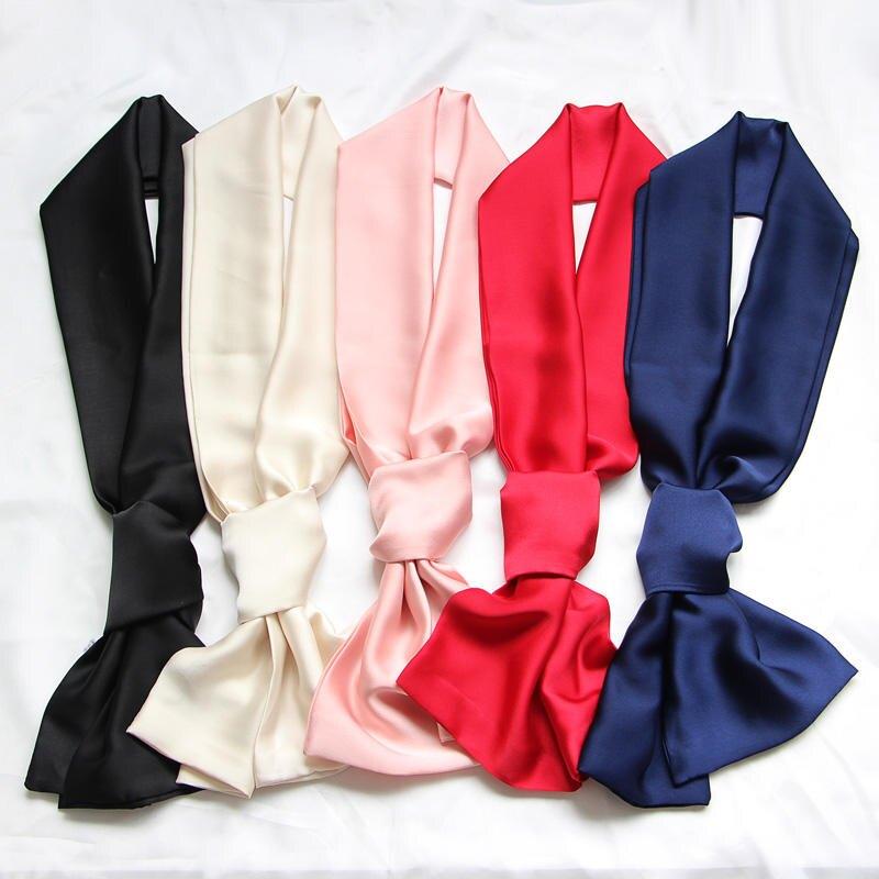 春夏新款長巾韓版領巾 歐美百搭緞面定制圍巾復古雙層純色小絲巾1入