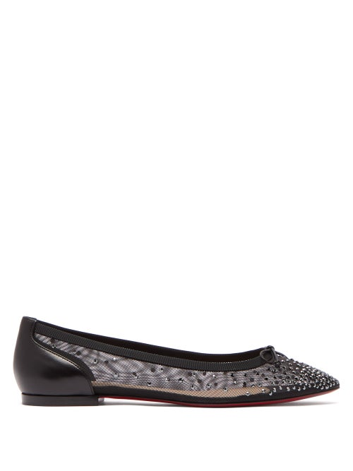 Christian Louboutin - Patio Crystal-embellished Mesh Flats - Womens - Black