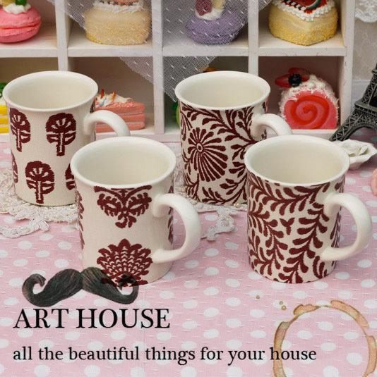 歐式花朵陶瓷口杯 茶杯 馬克杯 喝水杯 咖啡杯 奶杯 杯子辦公室(一個價)(圖一)