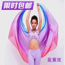 藍紫玫2.51.2絲黛麗絲漸變色肚皮舞紗巾 肚皮舞手紗拋紗紗巾 肚皮舞大絲巾