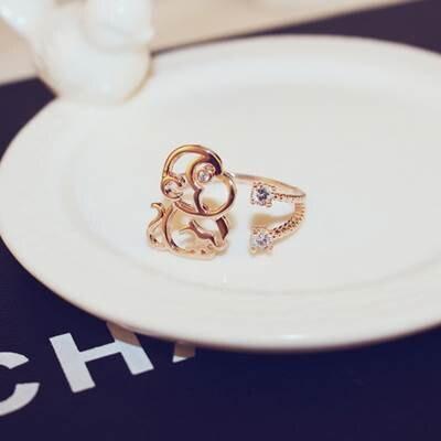 玫瑰金戒指鑲鑽銀飾-獨特可愛猴子造型母親節生日情人節禮物女飾品73by7【獨家進口】【米蘭精品】