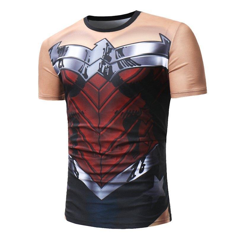 FINDSENSE H1 2018 夏季 新款 創意設計 鋼鐵俠圖案 印花 休閒 圓領 紅色 T恤 潮流 時尚 男