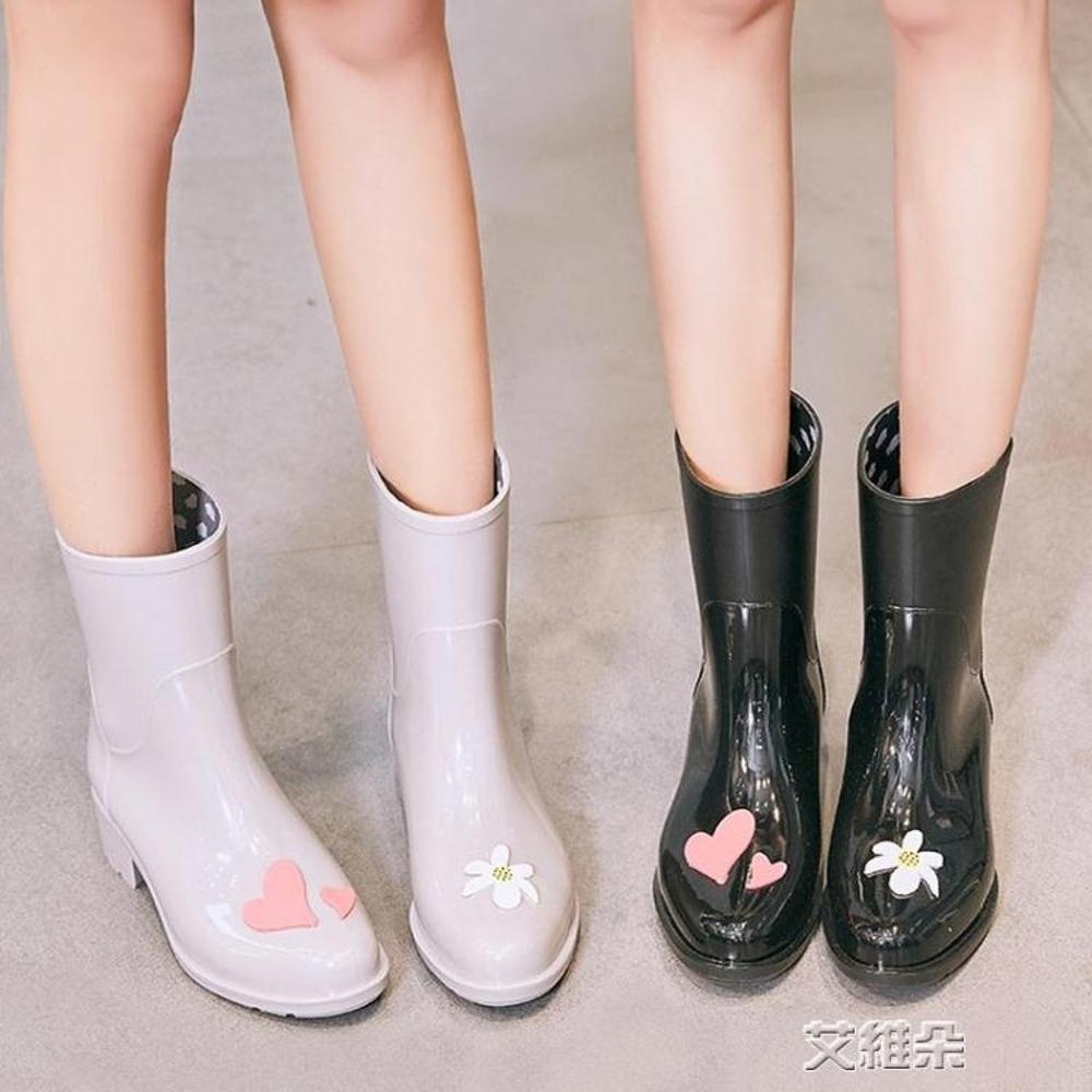 雨短鞋雨鞋女成人中筒水鞋水靴可愛雨靴防滑膠鞋防水鞋 清涼一夏钜惠