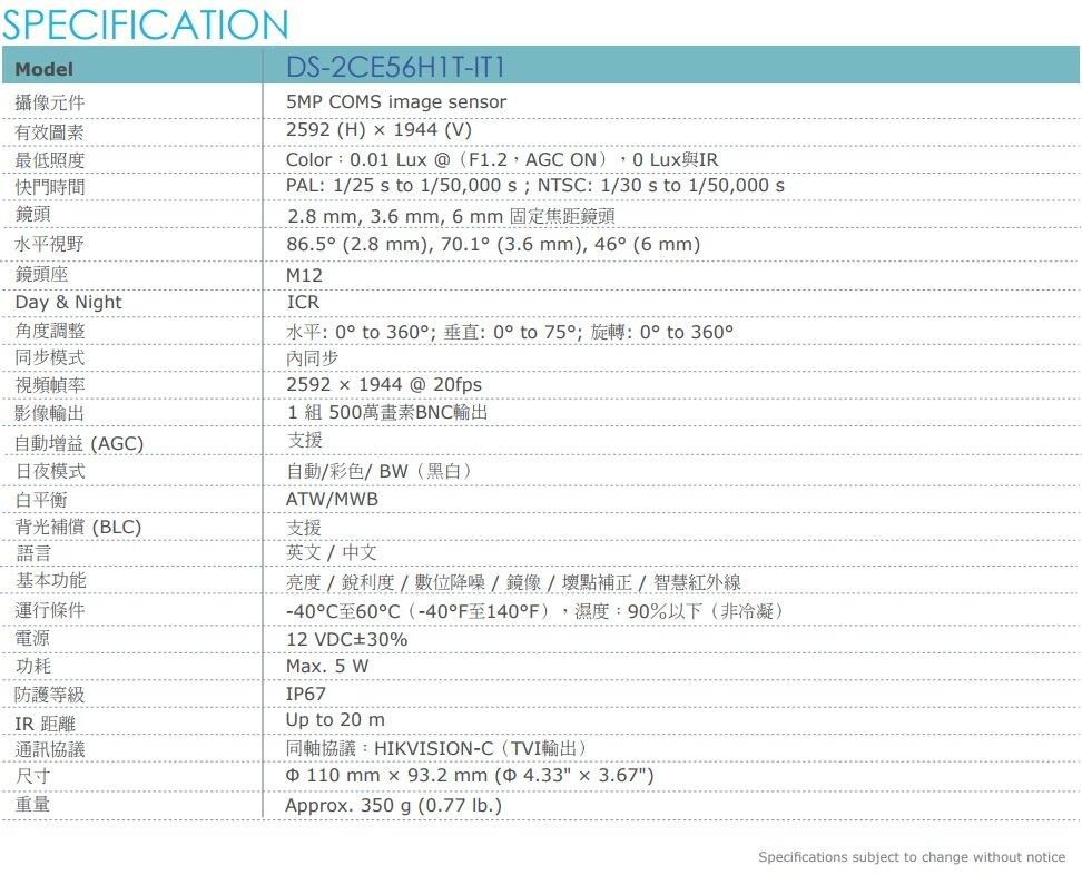 【高雄/台南/屏東監視器】海康 DS-7208HQHI-K1 1080P XVR H.265 專用主機 + TVI HD DS-2CE56H1T-IT1 5MP EXIR 紅外線槍型攝影機 *6