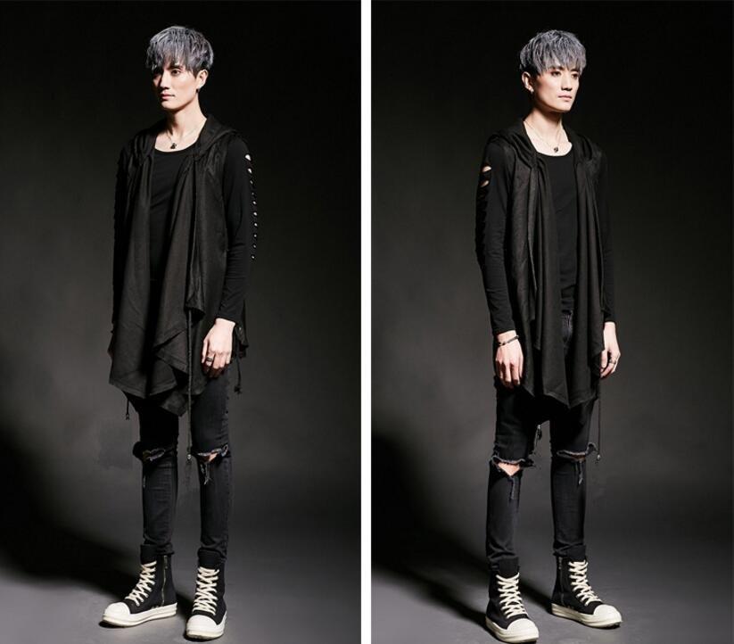 FINDSENSE 韓國潮流 個性 連帽不規則綁繩 時尚 街頭潮男 夜店 DJ 發型師 必備 馬甲外套