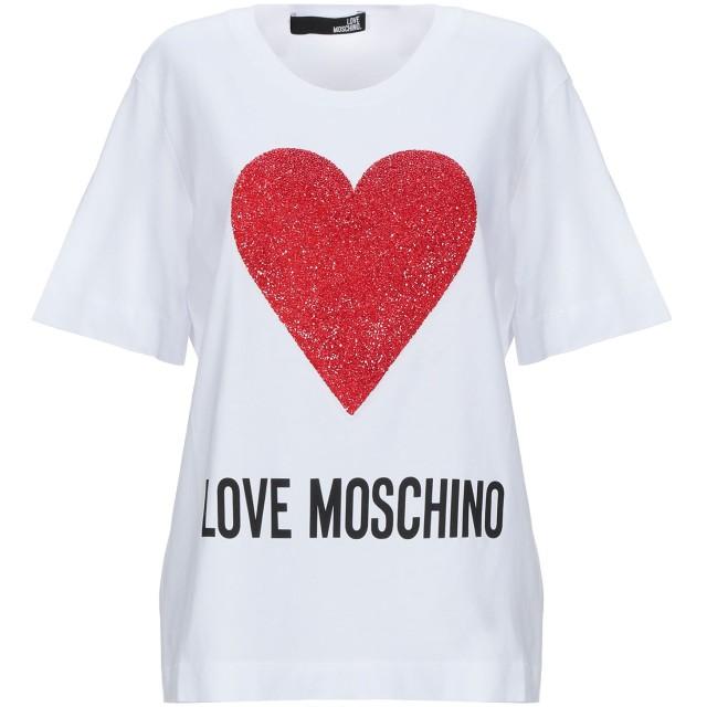 《セール開催中》LOVE MOSCHINO レディース T シャツ ホワイト 38 コットン 100%