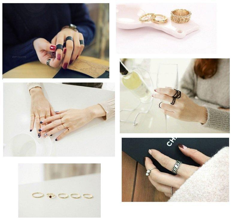 正品首飾品兩件套多件套關節食指男女士情侶戒指環71303