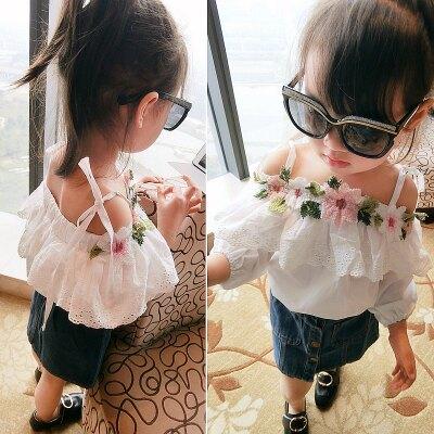 蕾絲花朵刺繡娃娃衫公主裙衫100-140cm