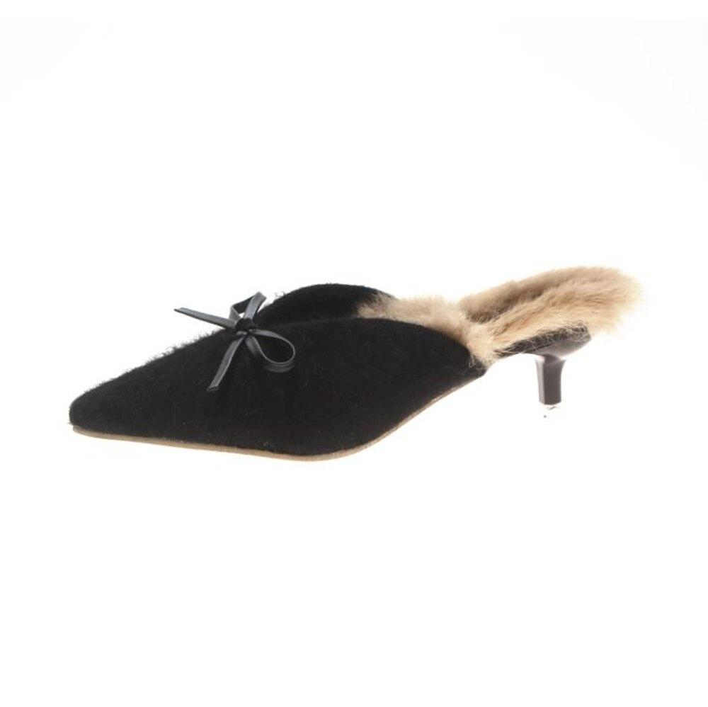 單鞋 毛毛半拖鞋女秋外穿新款韓版百搭尖頭細跟高跟鞋包頭女單鞋潮 歐歐流行館