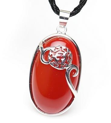 開光紅瑪瑙屬鼠吉祥物六丁鼠貴吊墜 水晶飾品女男士