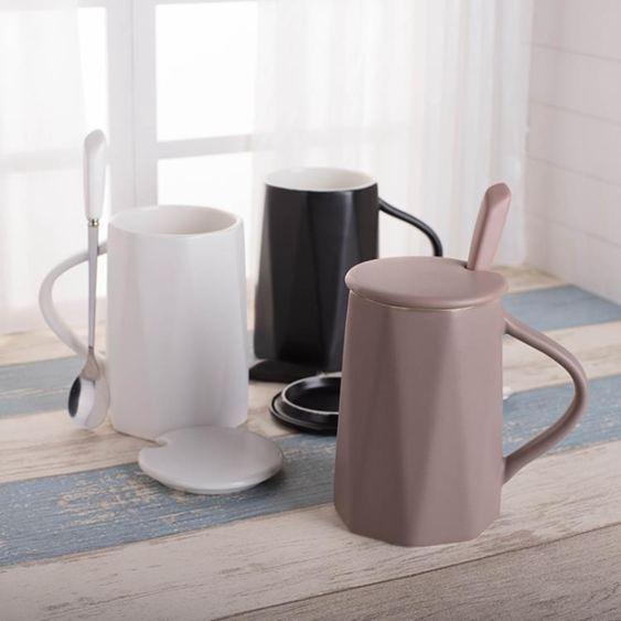 馬克杯韓版咖啡杯帶蓋勺潮流家用喝茶水陶瓷杯子情侶