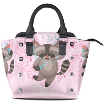 音楽タヌキ女性の女の子のためのハンドバッグ女性クロスボディバッグ革サッチェル財布メイクトートバッグ