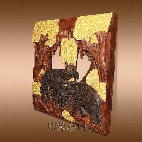 木雕壁飾 牆飾品 壁掛 木雕工藝品 大象木雕 雕花板樹木