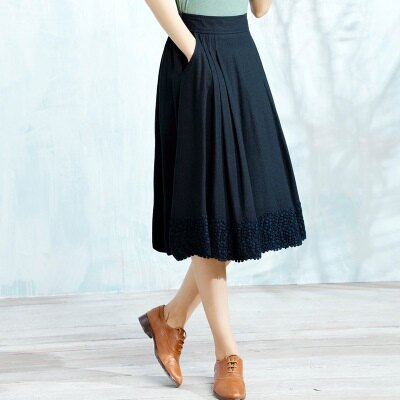 長裙棉麻半身裙子-甜美氣質簡約百搭女裙裝3色73hr48【獨家進口】【米蘭精品】