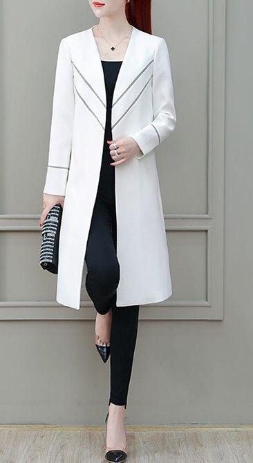 FINDSENSE品牌 秋季 新款 韓國 氣質 簡約 顯瘦 長袖 中長款 風衣外套 時尚 潮流上衣外套