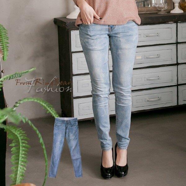 加大尺碼--百搭優質銅釦刷色針織內裡窄管牛仔褲(藍XL-7L)-N96眼圈熊中大尺碼