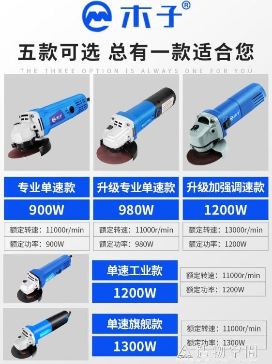 木子多功能調速角磨機小型家用手砂輪切割手磨打磨電動工具磨光機