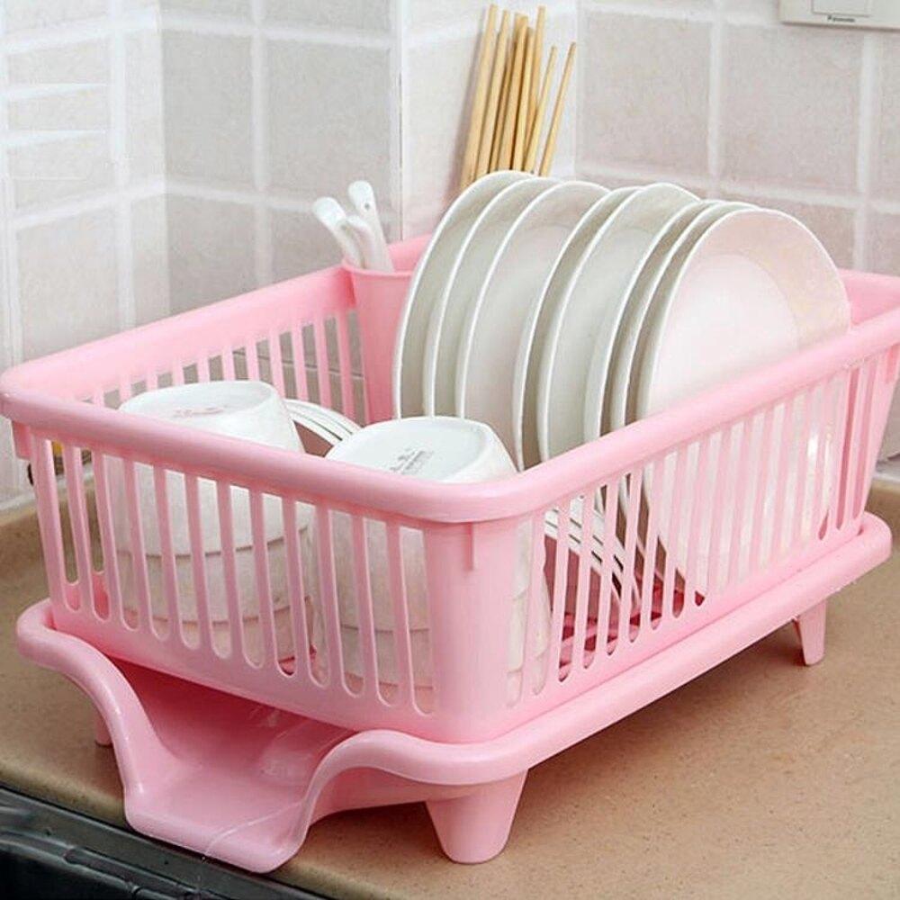 廚房放碗架 塑料用品瀝水滴水碗碟架碗筷收納置物架收納盒收納籃  【歡慶新年】