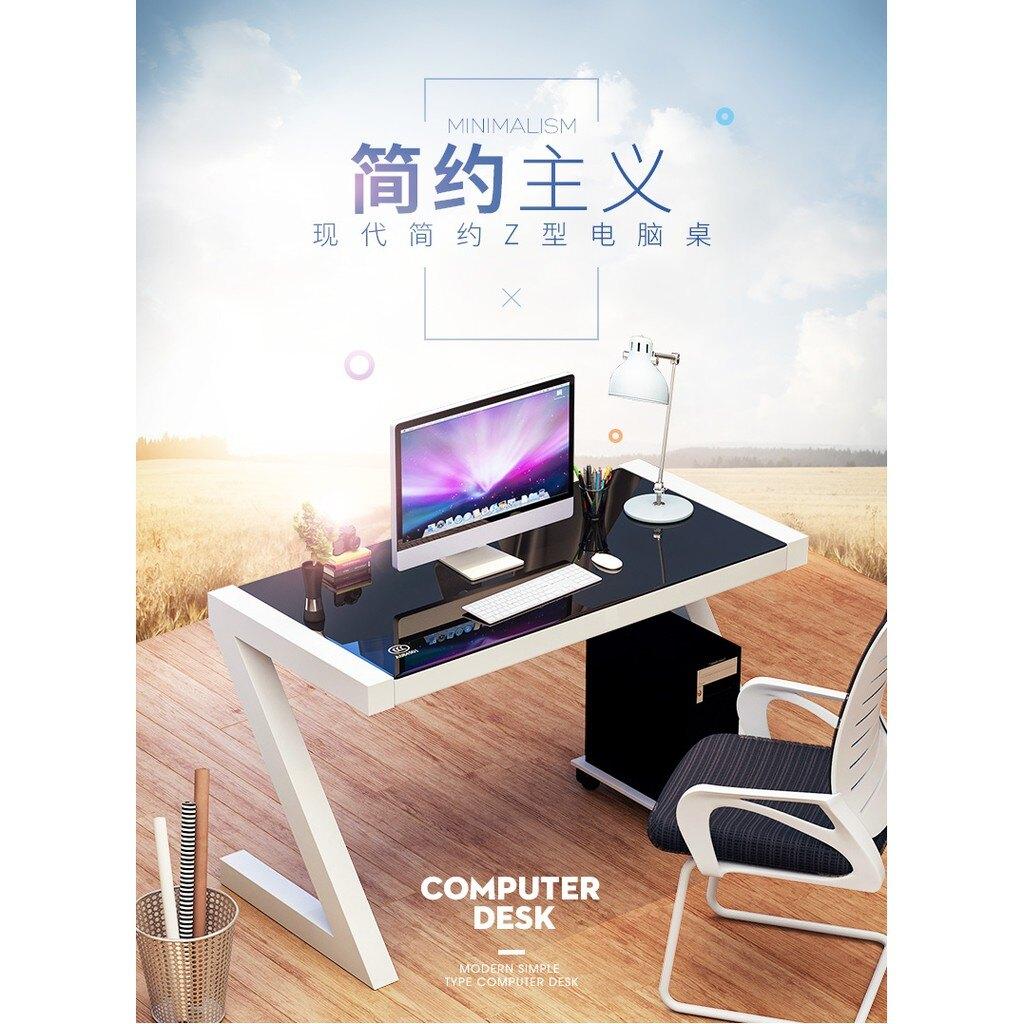 鋼化玻璃電腦桌台式家用辦公桌 簡易學習書桌寫字台 ATF