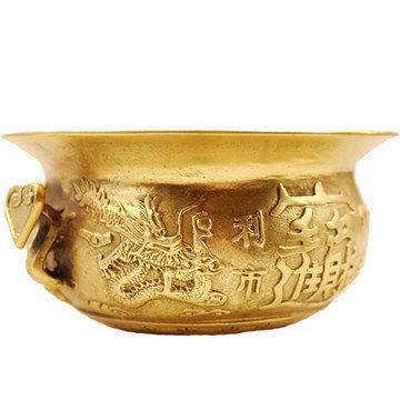 開光五路財神銅聚寶盆香爐擺件家居擺設裝飾品擺件