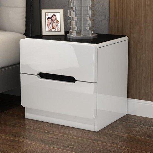 床頭櫃北歐床頭櫃 簡約現代儲物櫃 臥室床邊櫃白色收納烤漆床頭櫃  伊卡萊生活館  聖誕節禮物
