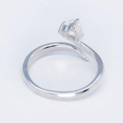 925純銀戒指鑲鑽開口戒-時尚簡約光面愛心情人節生日禮物女飾品2色73dt785【獨家進口】【米蘭精品】