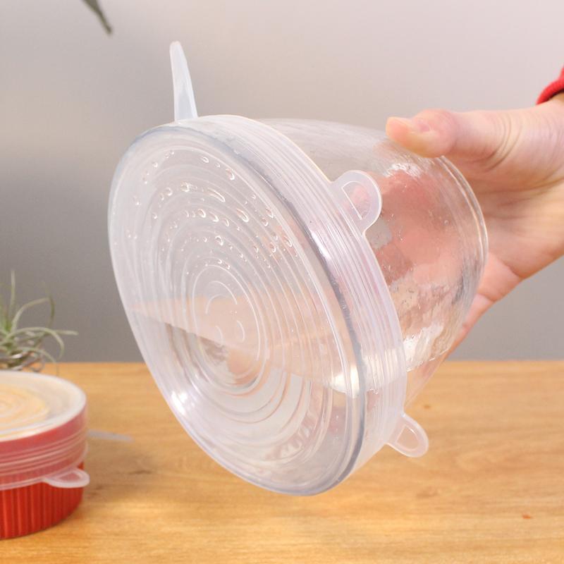 6個一套硅膠保鮮蓋萬能碗蓋密封可重復使用冰箱保鮮膜廚房保鮮蓋1入