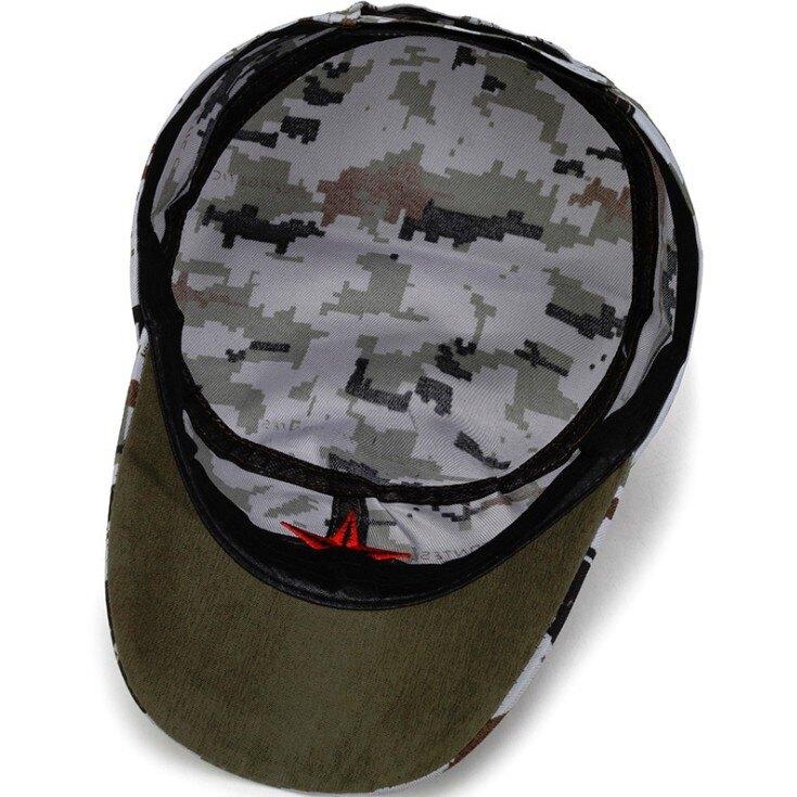 【釣魚帽】 斜紋/帆布平頂帽子繡五角星單層軍帽紅軍帽男便宜的帽 DIGITAL INTERNATIONAL E1122劉