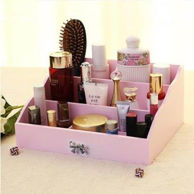 【多格混搭收納盒-28*23*13cm-1款/組】木質化妝品桌面儲物盒梳粧檯收納架-7701011