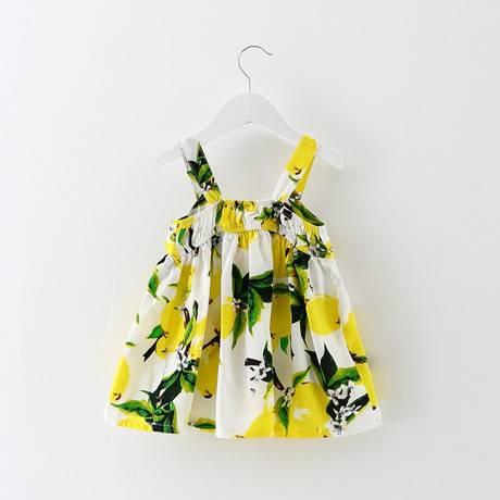 女童休閒大檸檬無袖吊帶衣裙