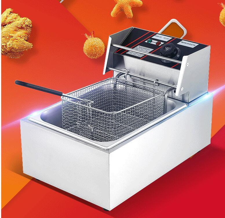 電炸爐商用油炸鍋單缸10L炸薯條炸雞排設備電炸鍋雙鍋油炸機 韓衣館